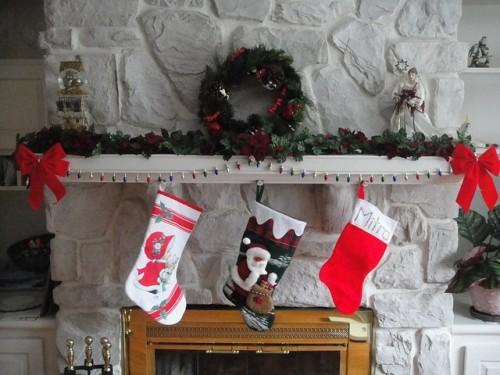 Christmas stocking on mantelpiece