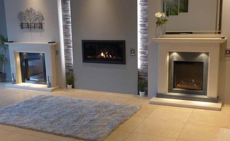 Selection of electric fireplaces at Nottingham fireplace showroom