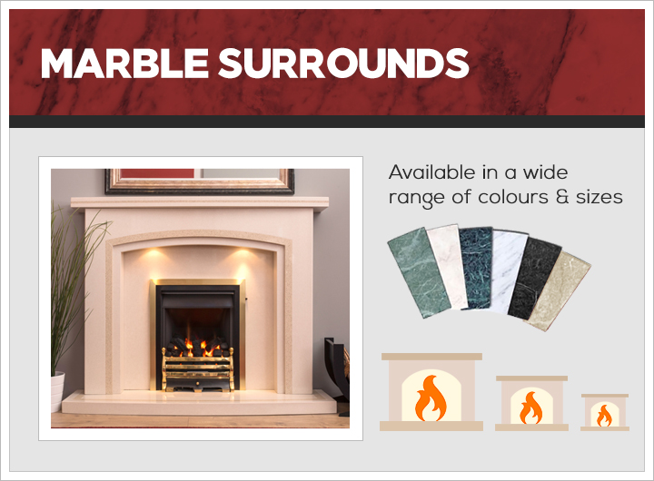 Marble surround bespoke fireplaces
