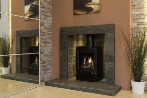 gas stove in stone surround