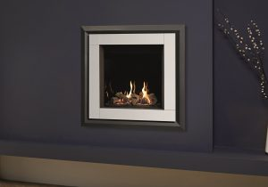 Riva2 600 HL Evoke XS White Glass with EchoFlame Black Glass Lining
